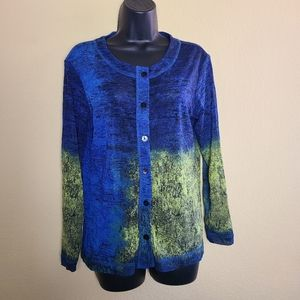 Chico's Sheer Long Sleeve Button Up